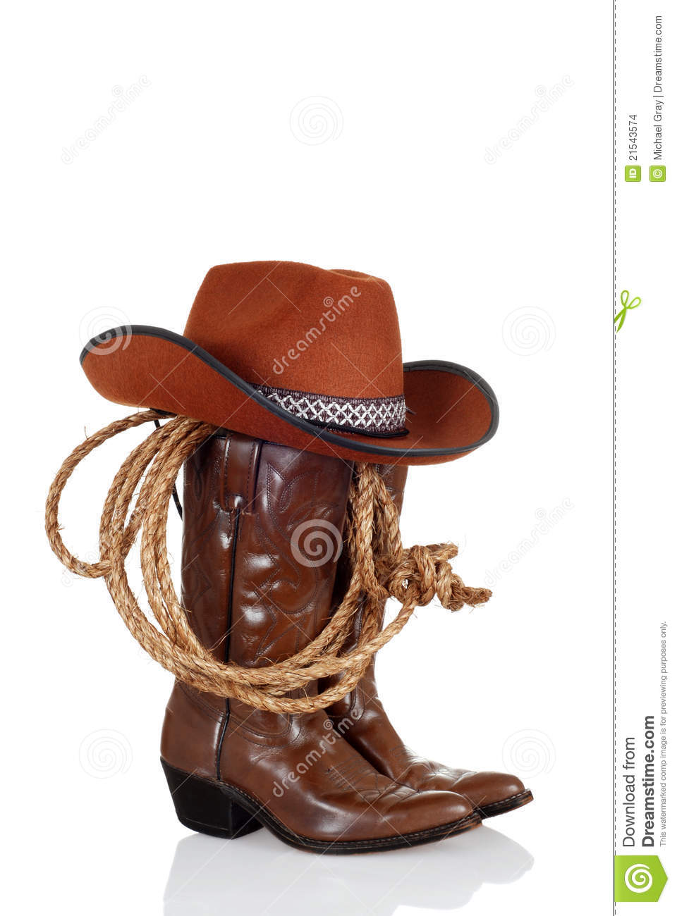 More similar stock images of ` Cowboy boots with hat and a lasso `