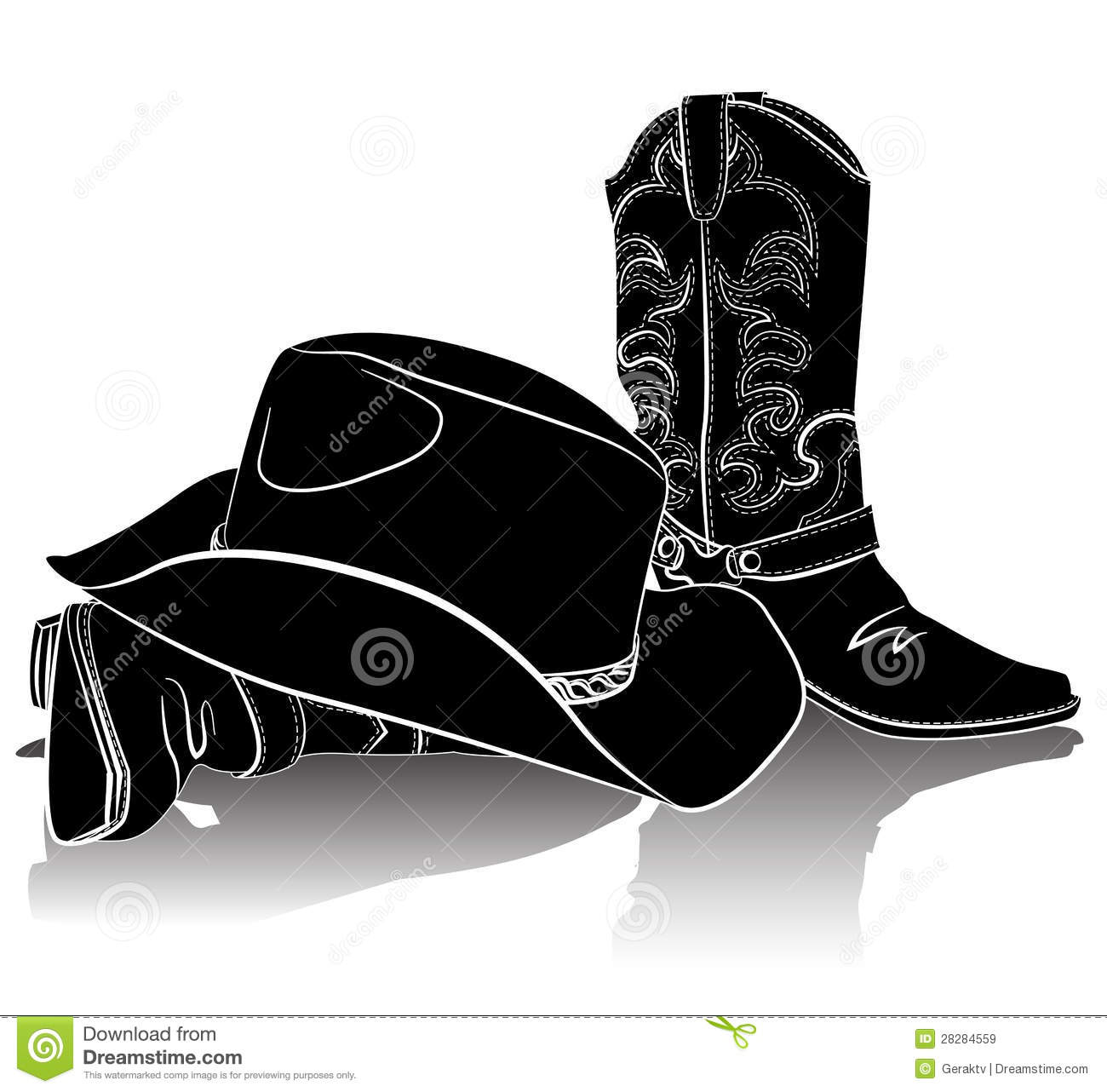Cowboy Boots And Hat.Vector Grunge Background Royalty Free Stock ...