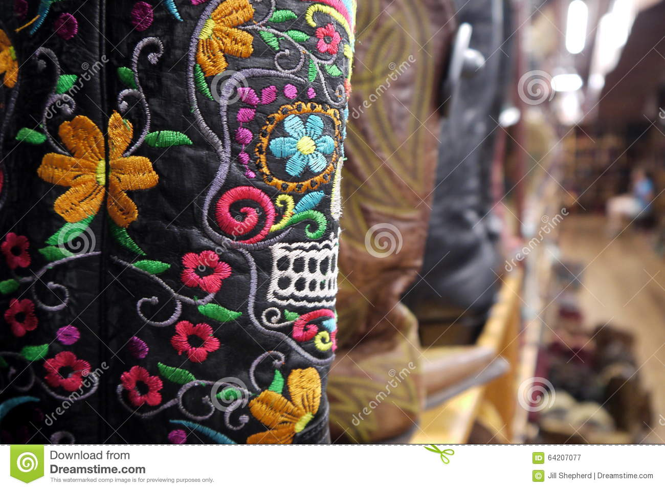 Cowboy Boots Mexican Embroidery Skull Detail Stock Image Image Of