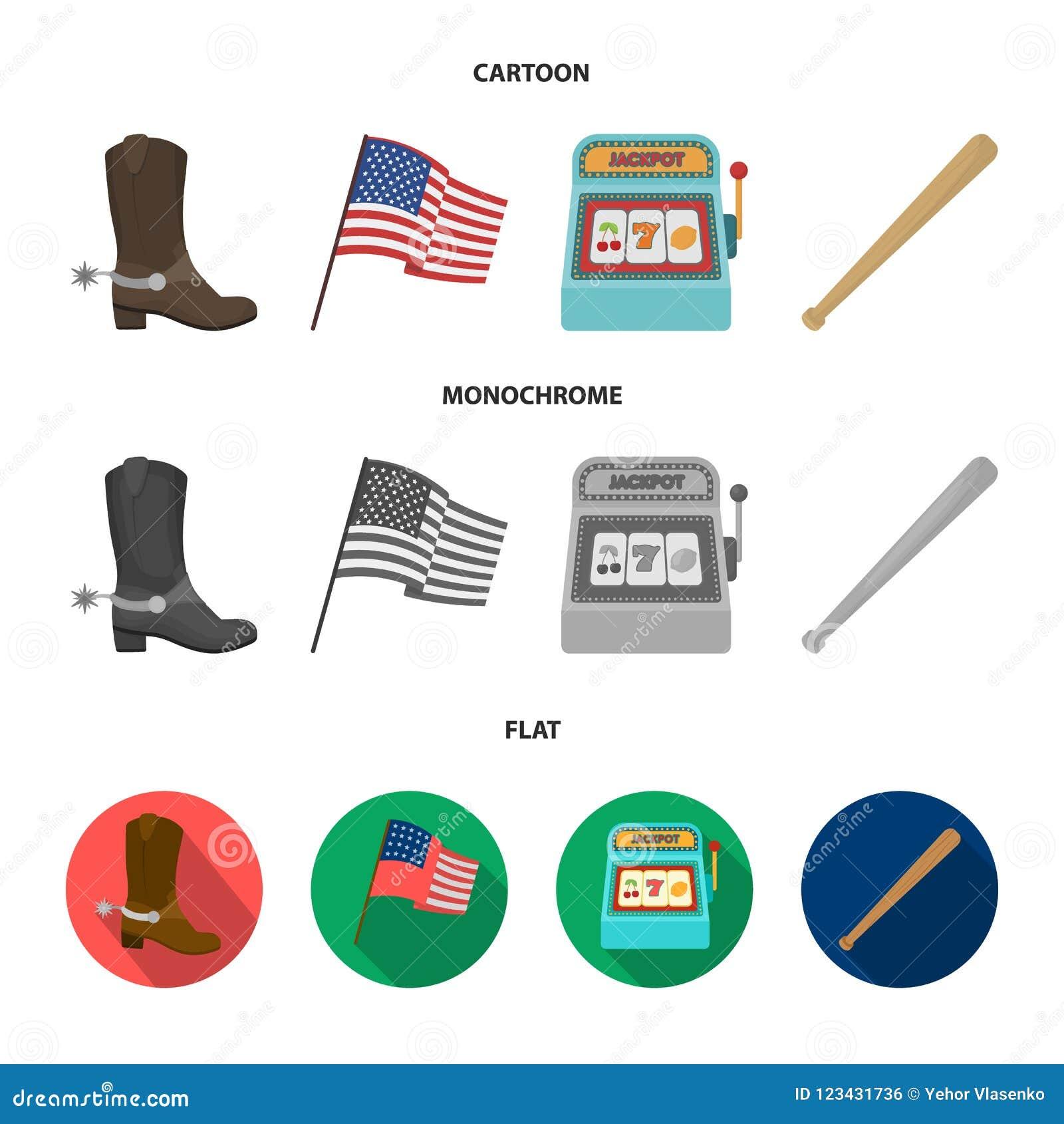 c3b605c21ad Cowboy Boots, National Flag, Slot Machine, Baseball Bat. USA Country ...