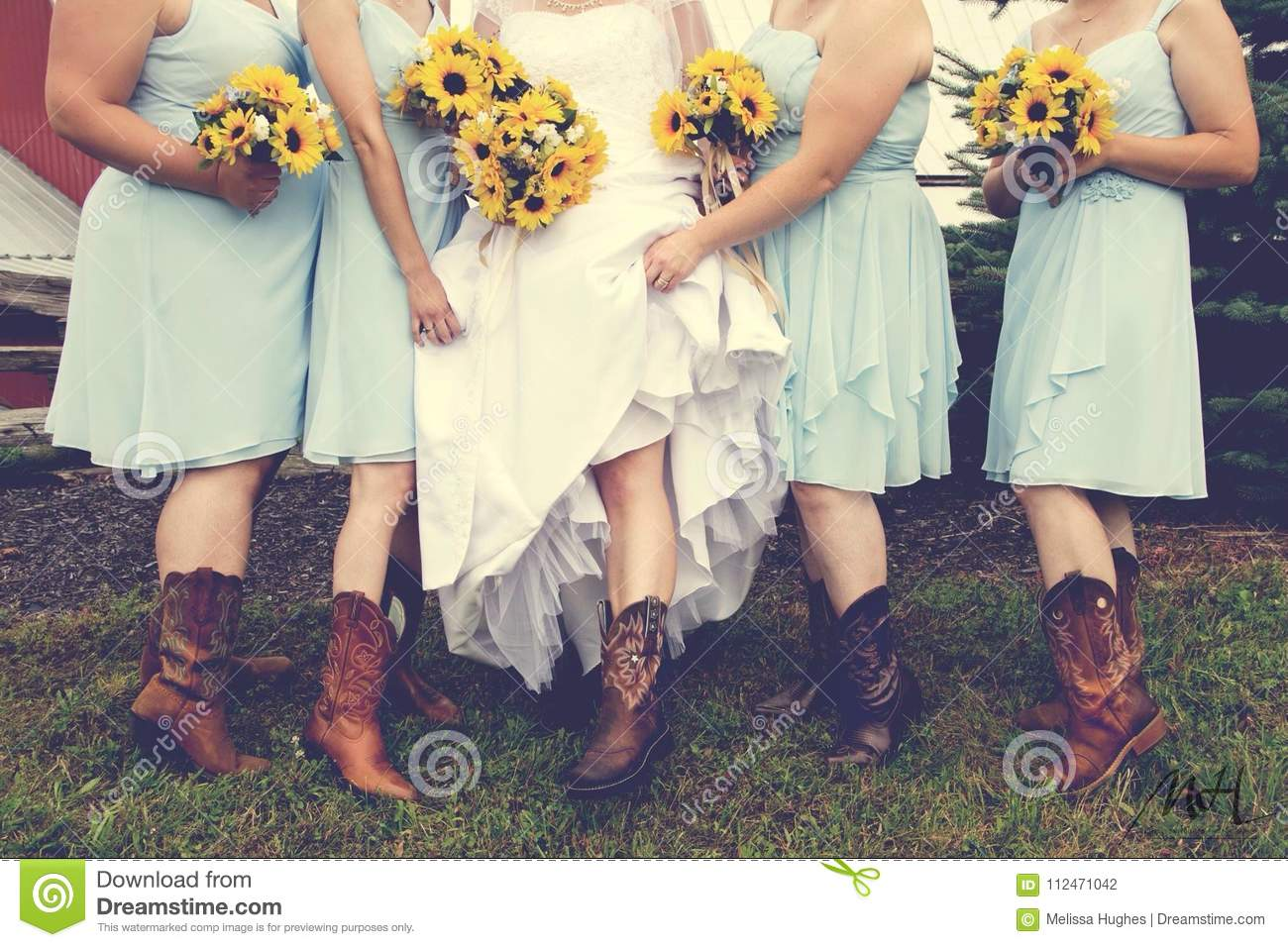 Cowgirl Wedding And Sunflower Bouquets Stock Photo Image Of