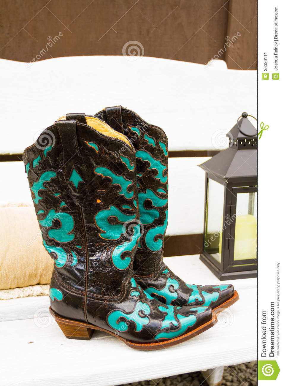 Cowboy Boots Wedding Shoes stock image. Image of country - 35320111