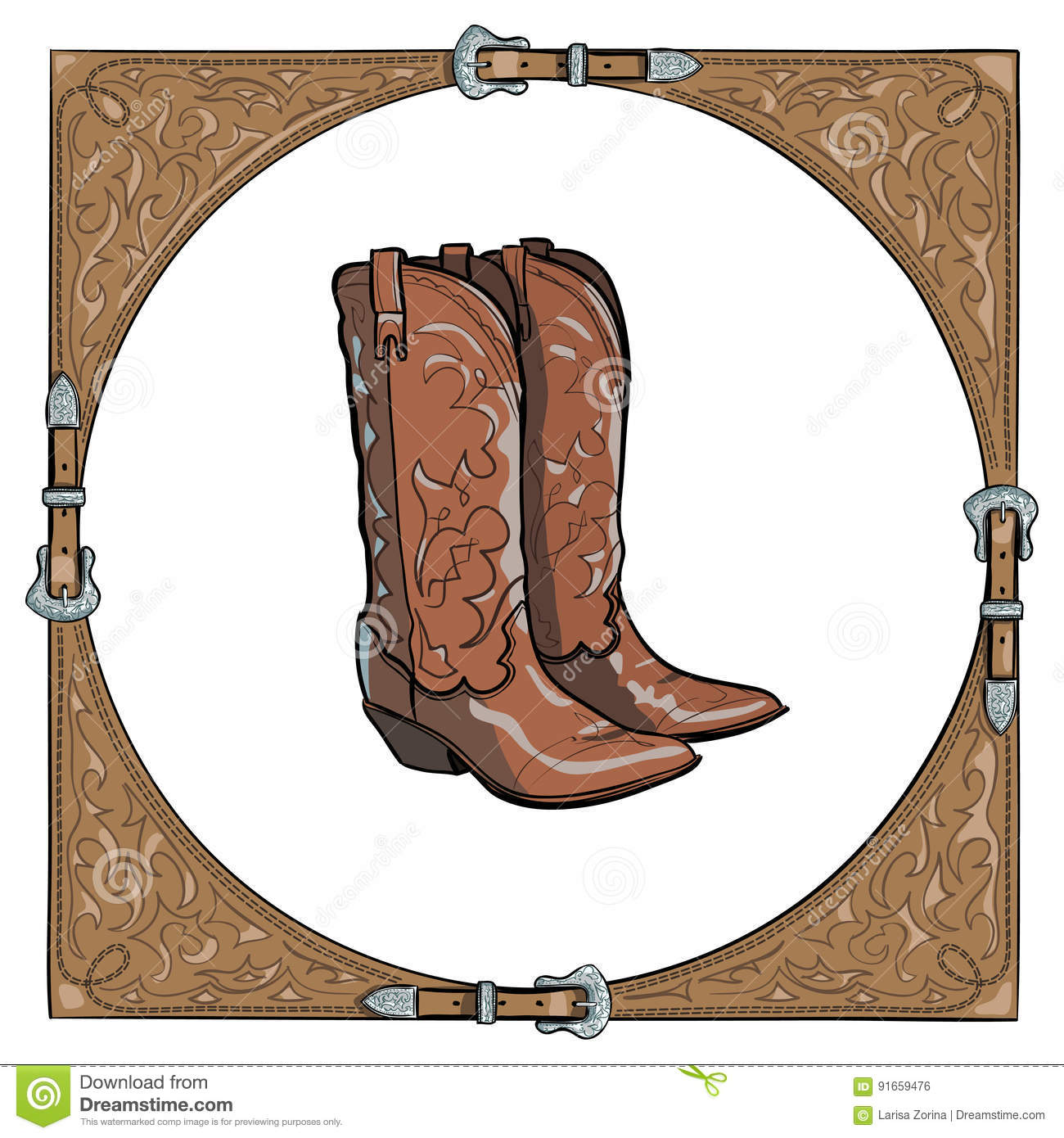 Cowboy Boots In The Western Leather Frame On White Background. Stock ...