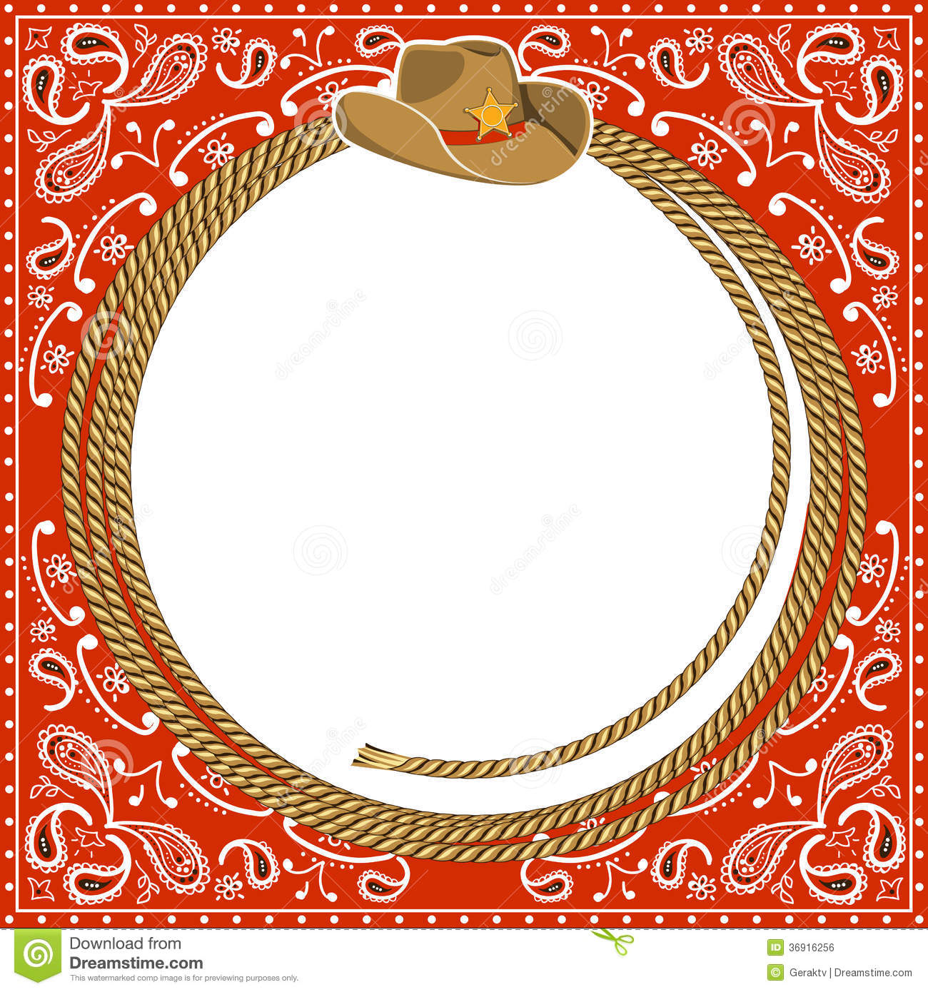cowboy card background with hat and rope stock vector illustration