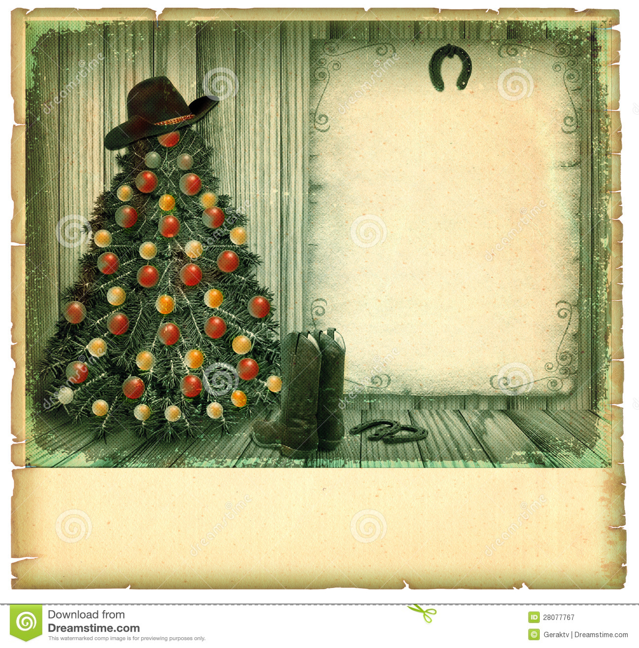 Cowboy Christmas Card.American Vintage Royalty Free Stock ...