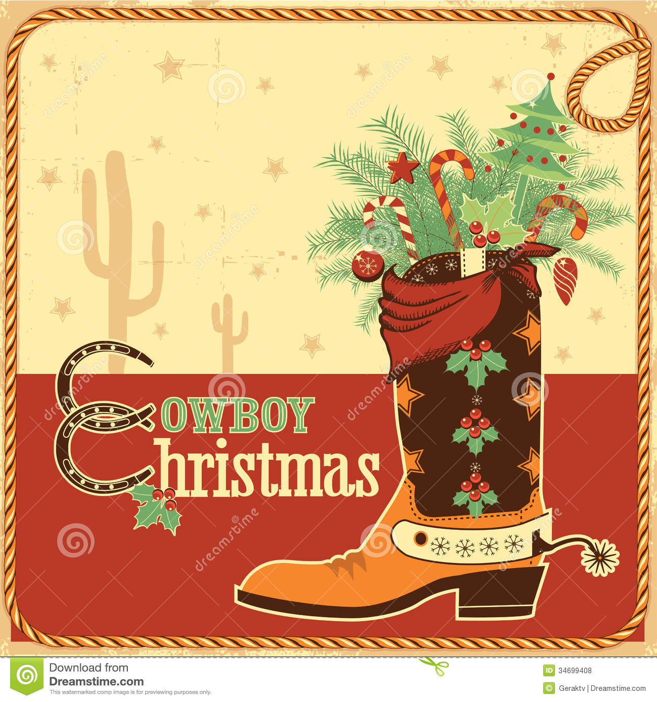 Cowboy Christmas Card With Text And Boot Stock Vector - Illustration ...