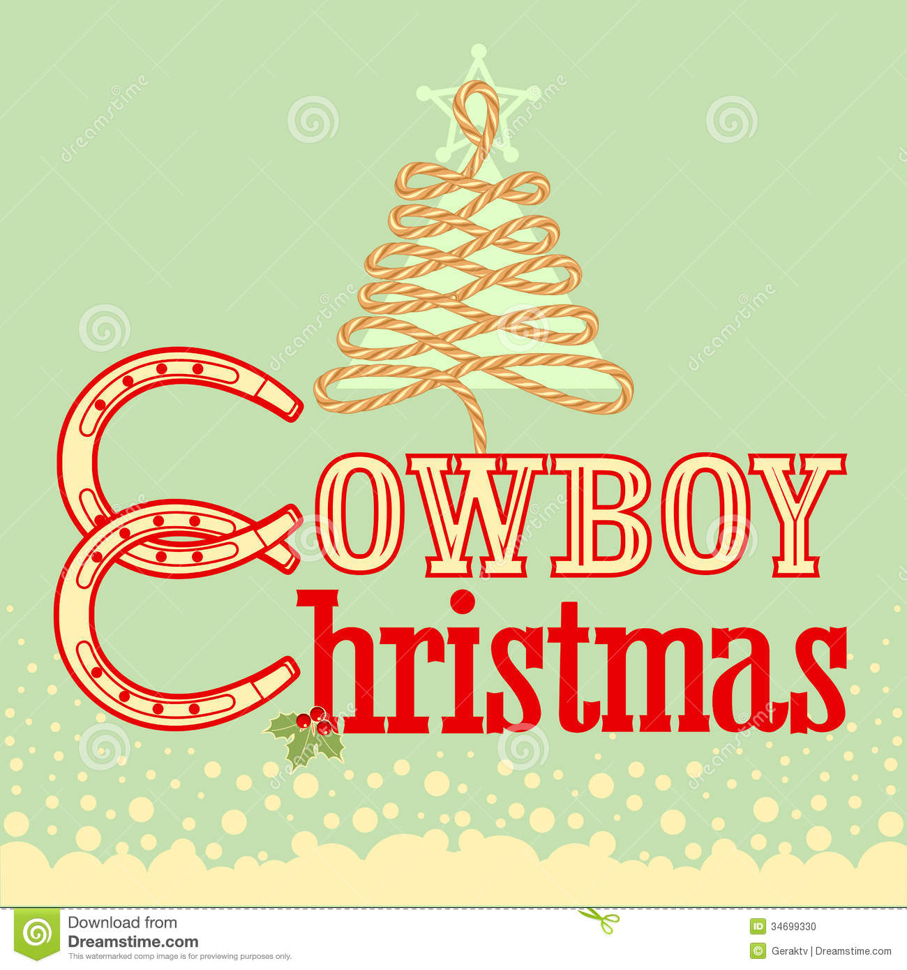 Cowboy Christmas Tree Stock Image - Image: 34610571