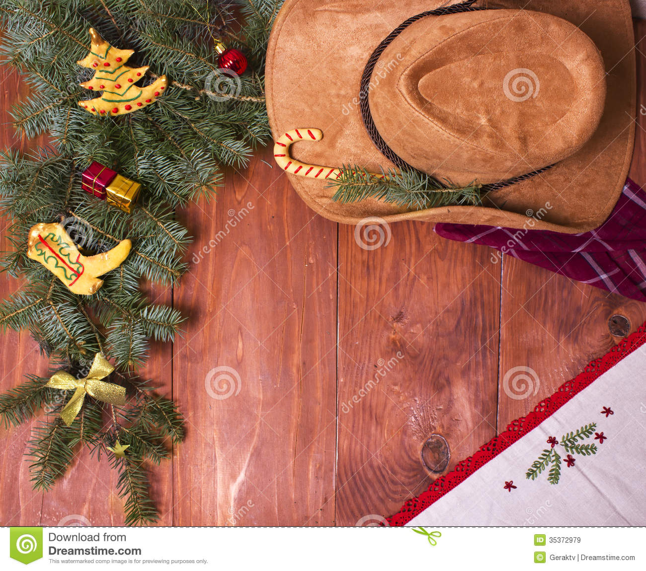 Cowboy Christmas Wood Background With Holiday Decorations
