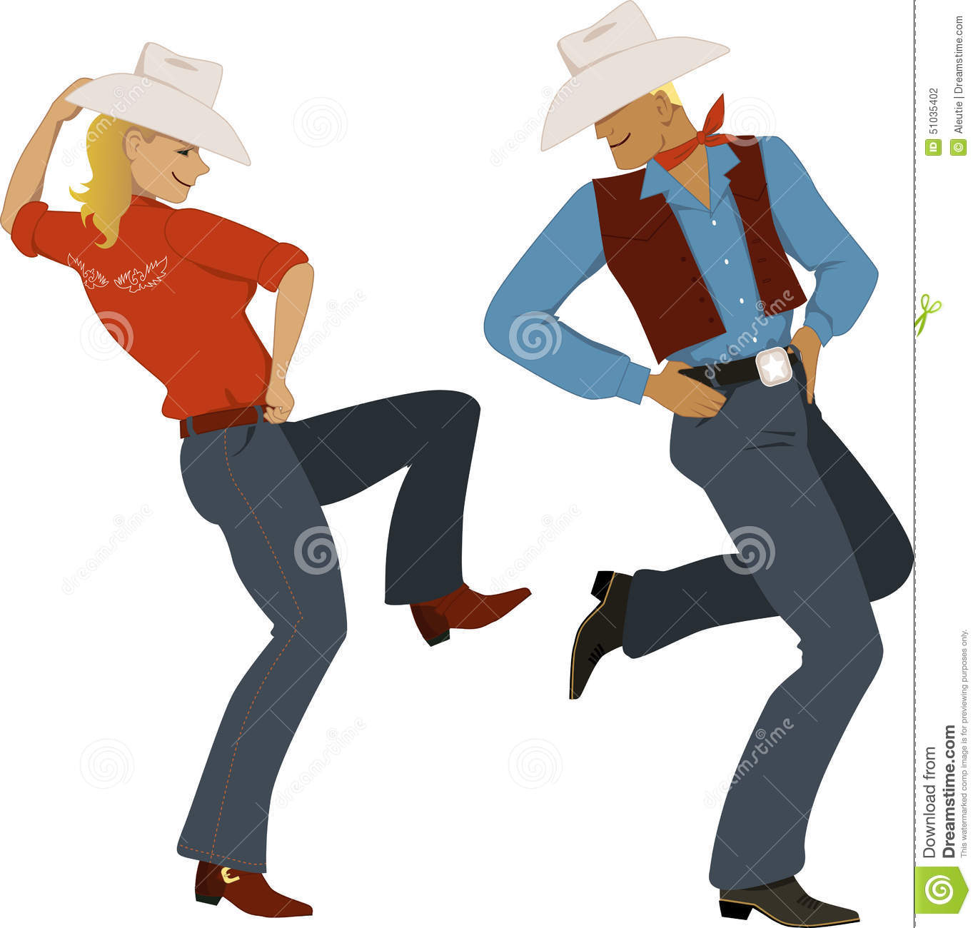 Stock Illustration Cowboy Dancing Young Couple Dressed Traditional Western Style Attire Boots Stetson Hats Vector Illustration No Image51035402 on Western Border Clip Art