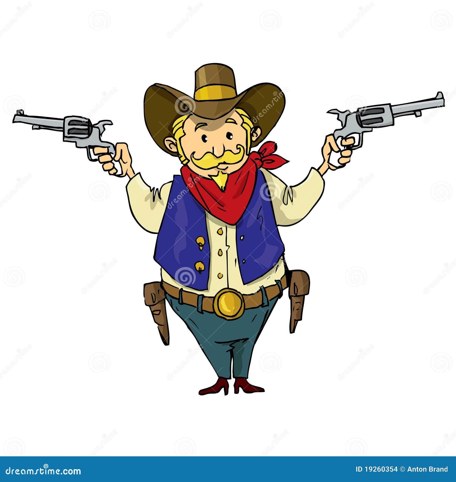 Cowboy de dessin anim avec des six canons images stock - Dessin de cowboy ...