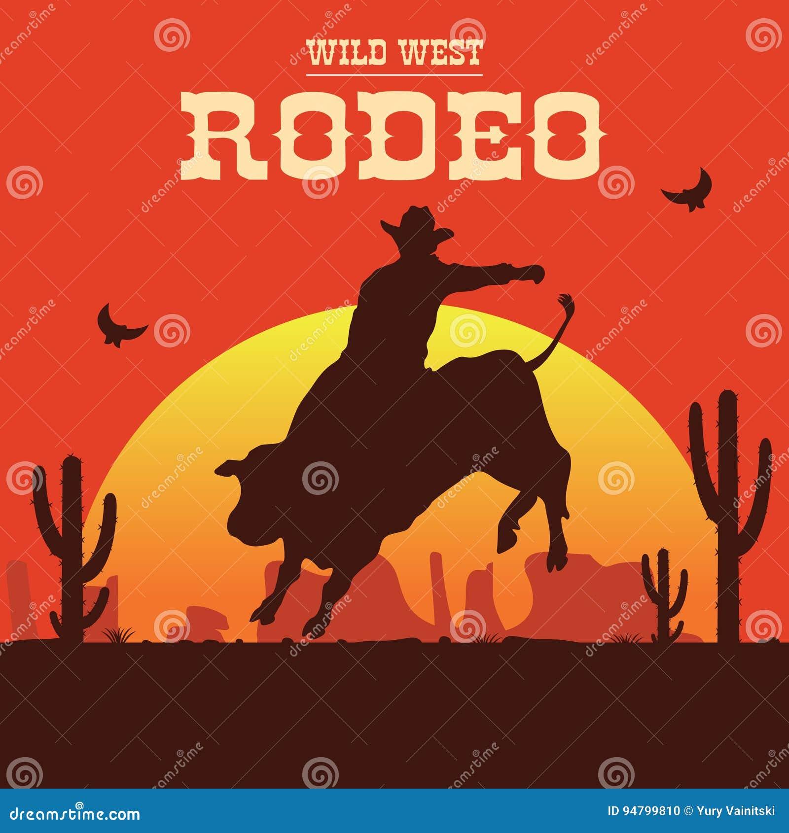 Cowboy de rodéo montant un taureau sauvage