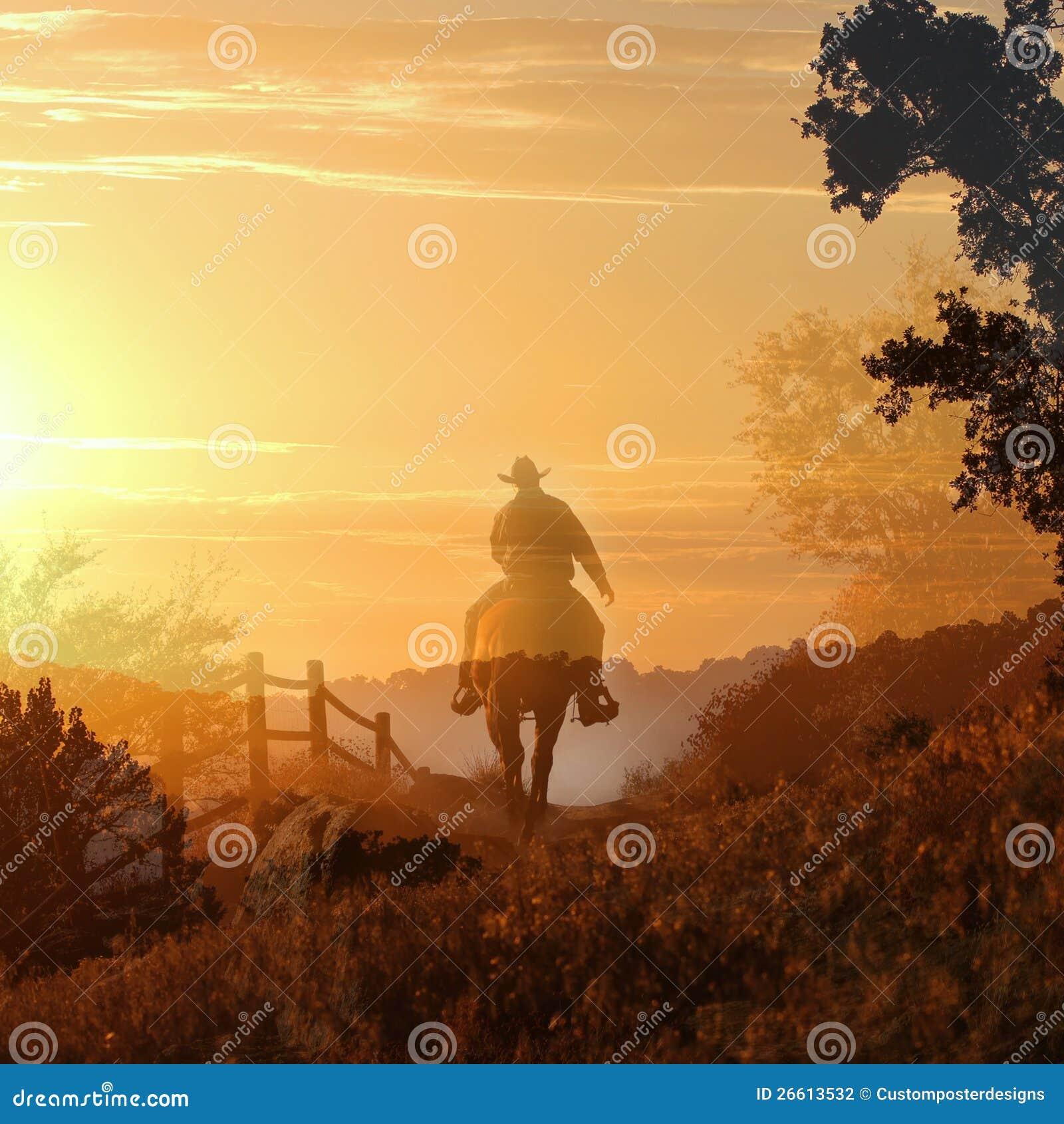 Cowboy die op een paard I. berijdt.