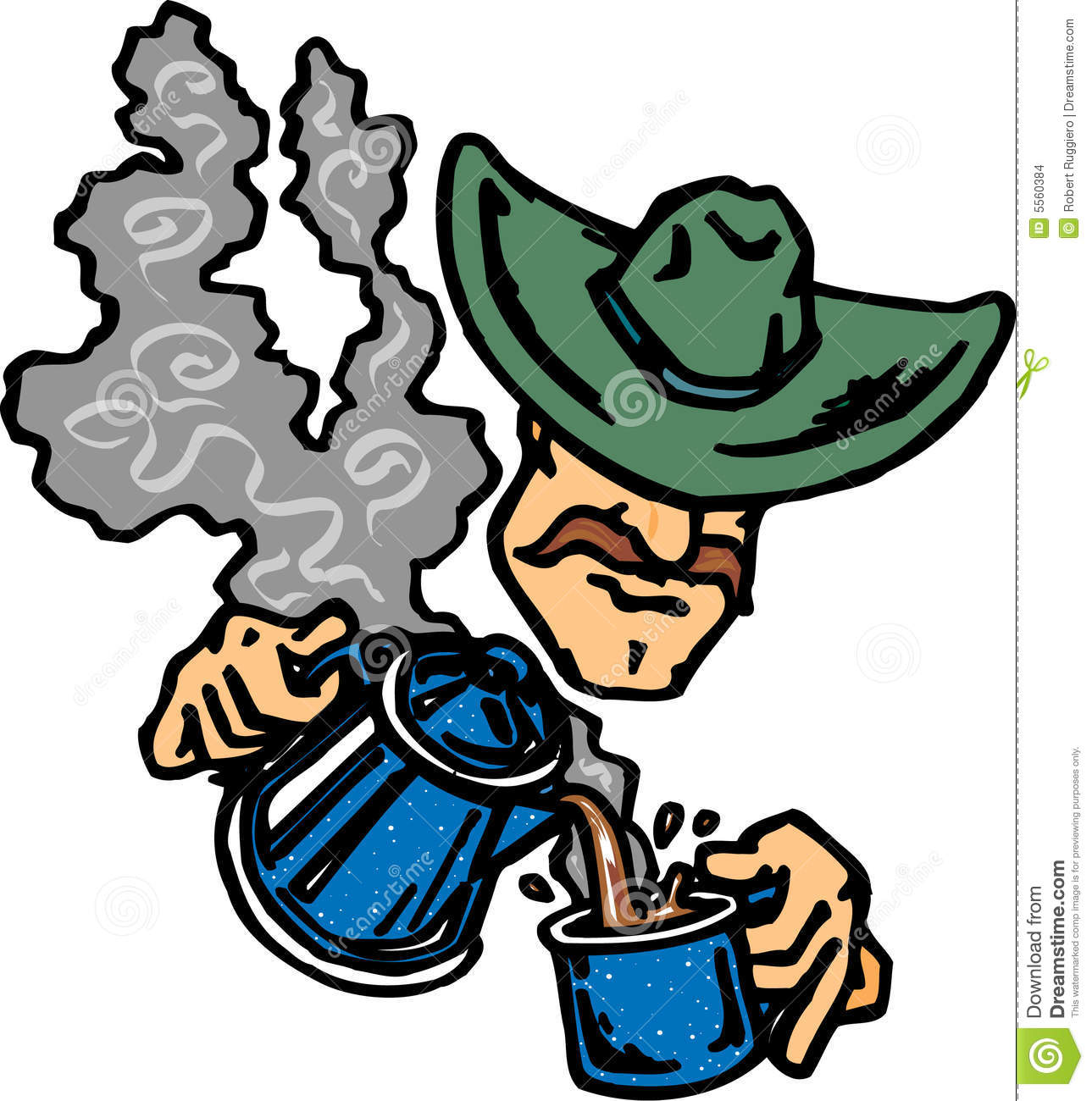 Cowboy drinking coffee stock vector. Illustration of ...