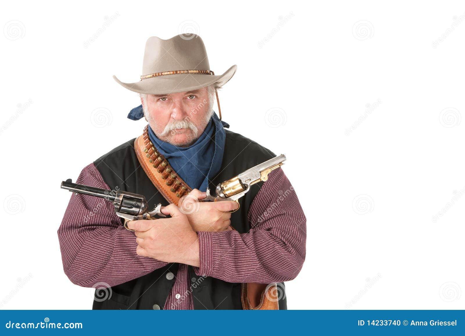Cowboy dur avec des pistolets