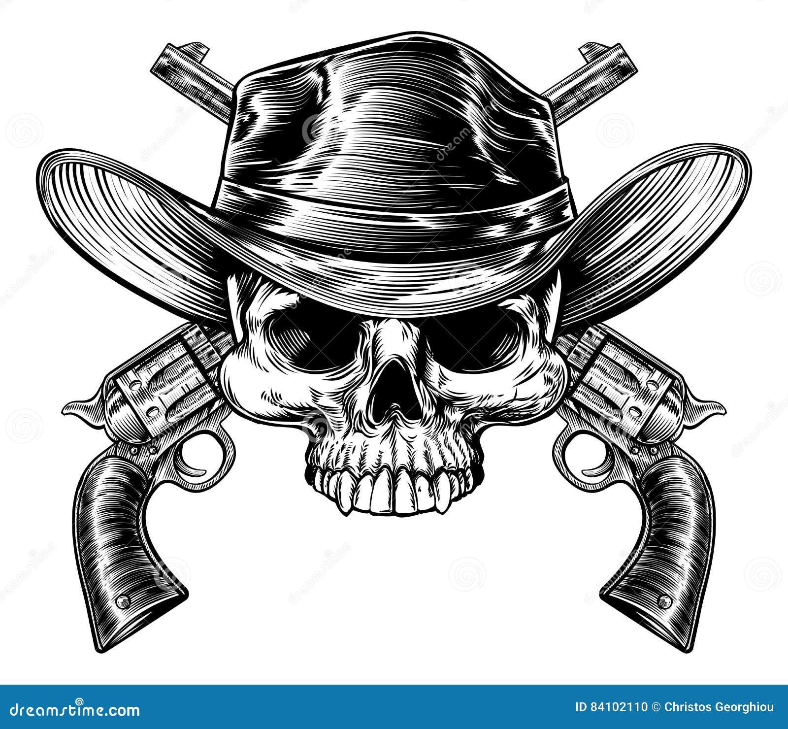 Cowboy e pistole del cranio