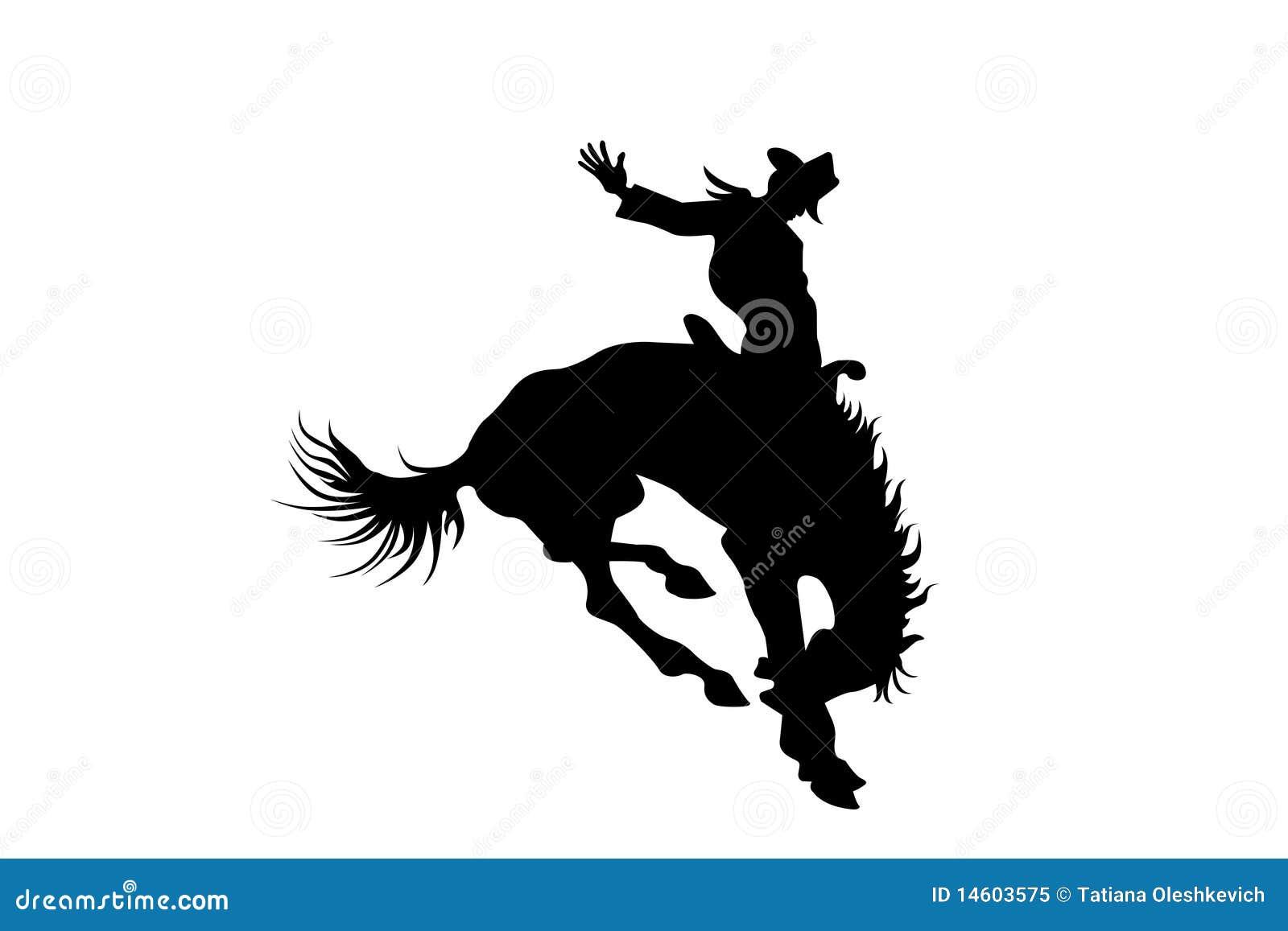 Cowboy em um cavalo no rodeio