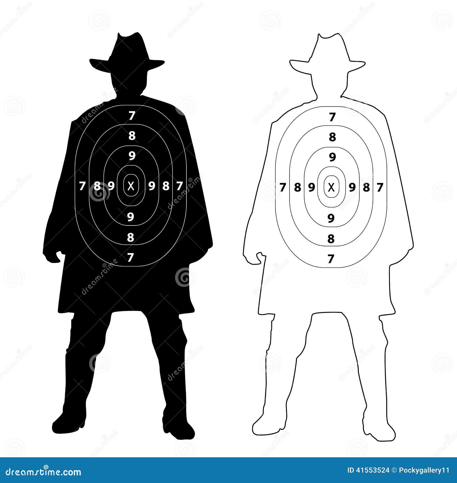 Cowboy Gun Target On White Stock Vector - Image: 41553524