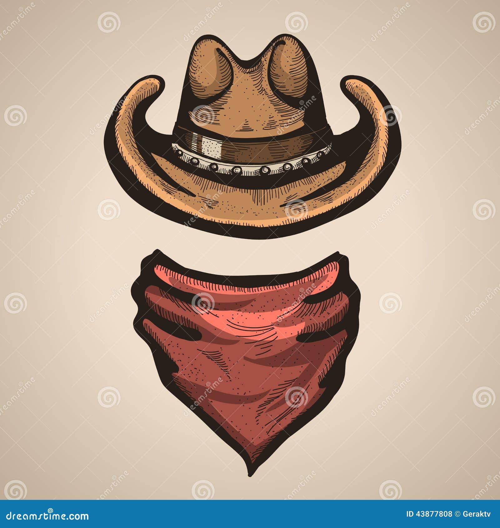 Cowboy Hat And Bandana Scraf Vector Illustration Stock