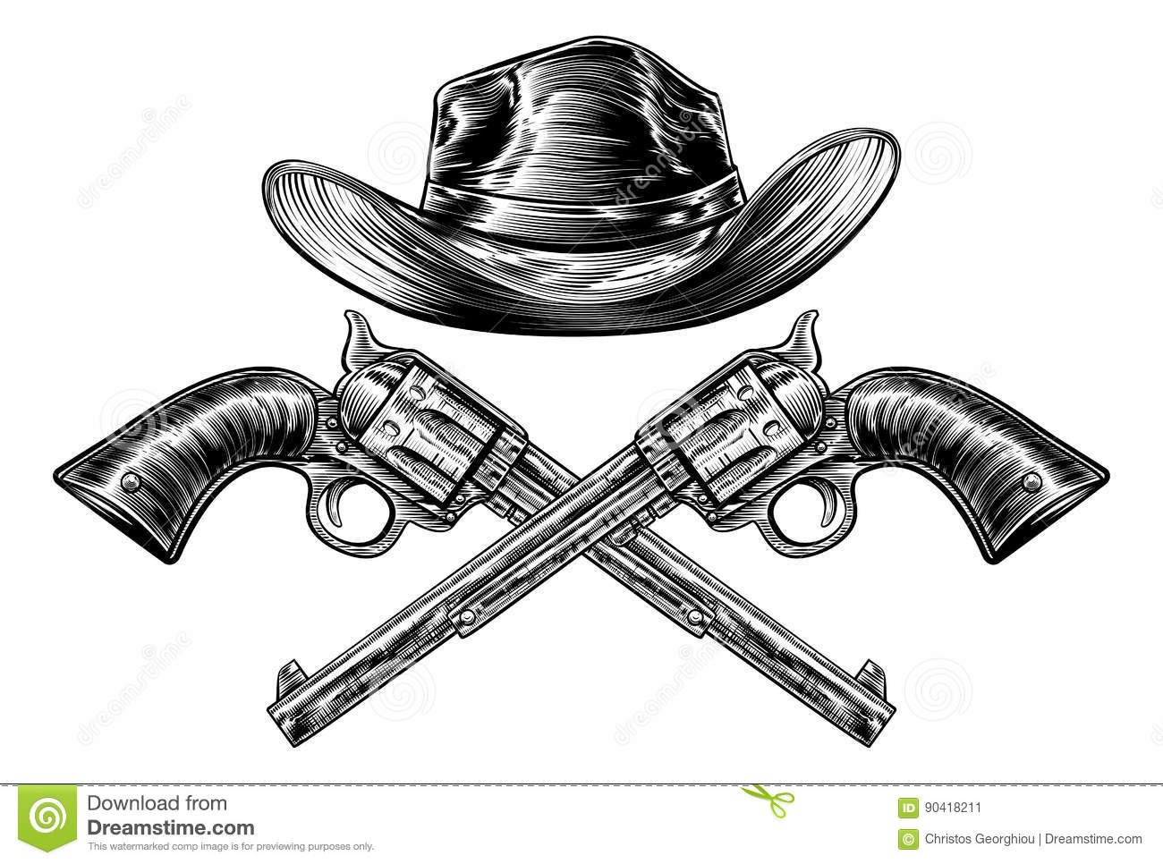 fe4774ad A cowboy western hat and pair of crossed pistol guns in a vintage etched  engraved style. Designers Also Selected These Stock Illustrations