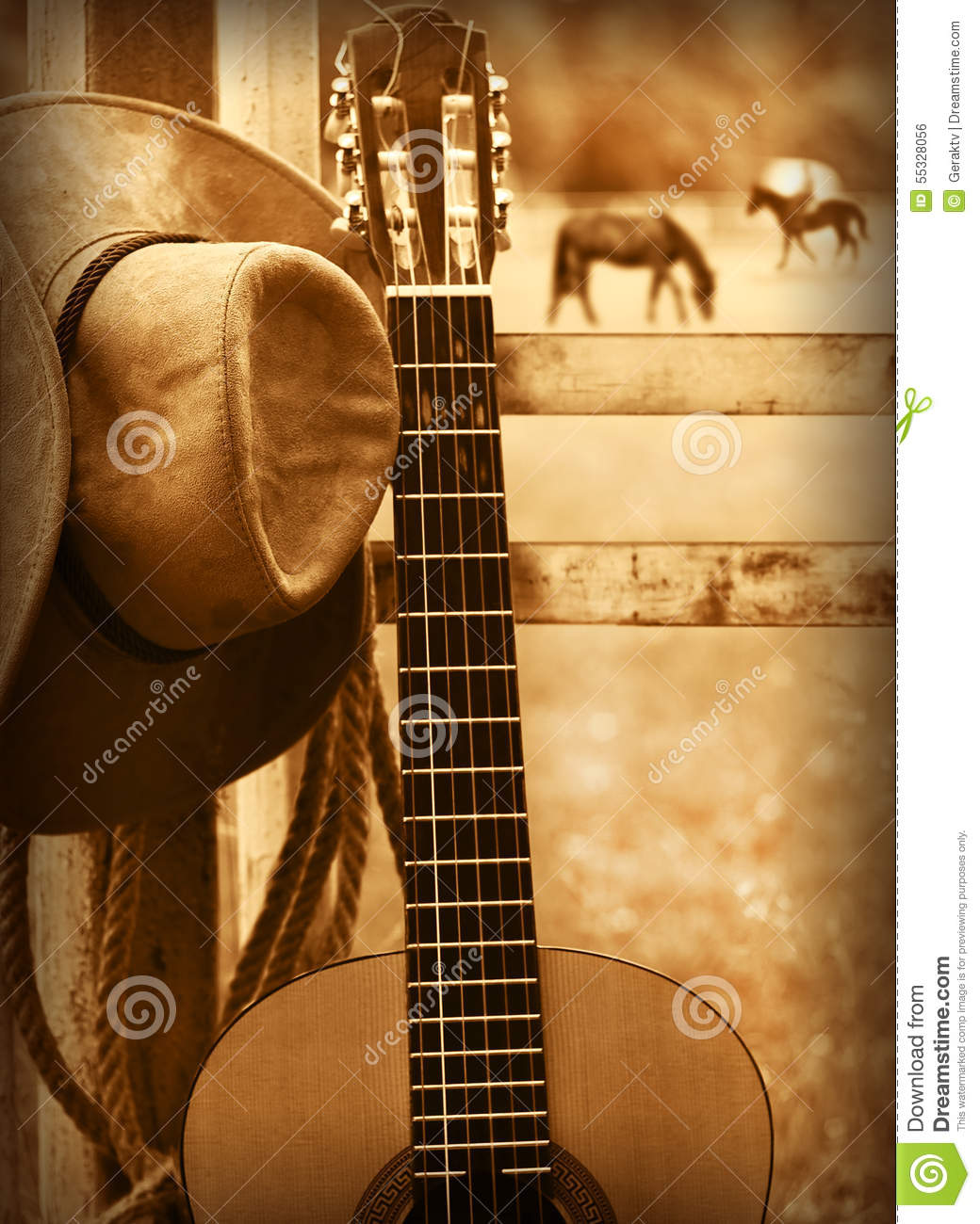 Country Music Wallpaper: Cowboy Hat And Guitar.American Music Background Stock