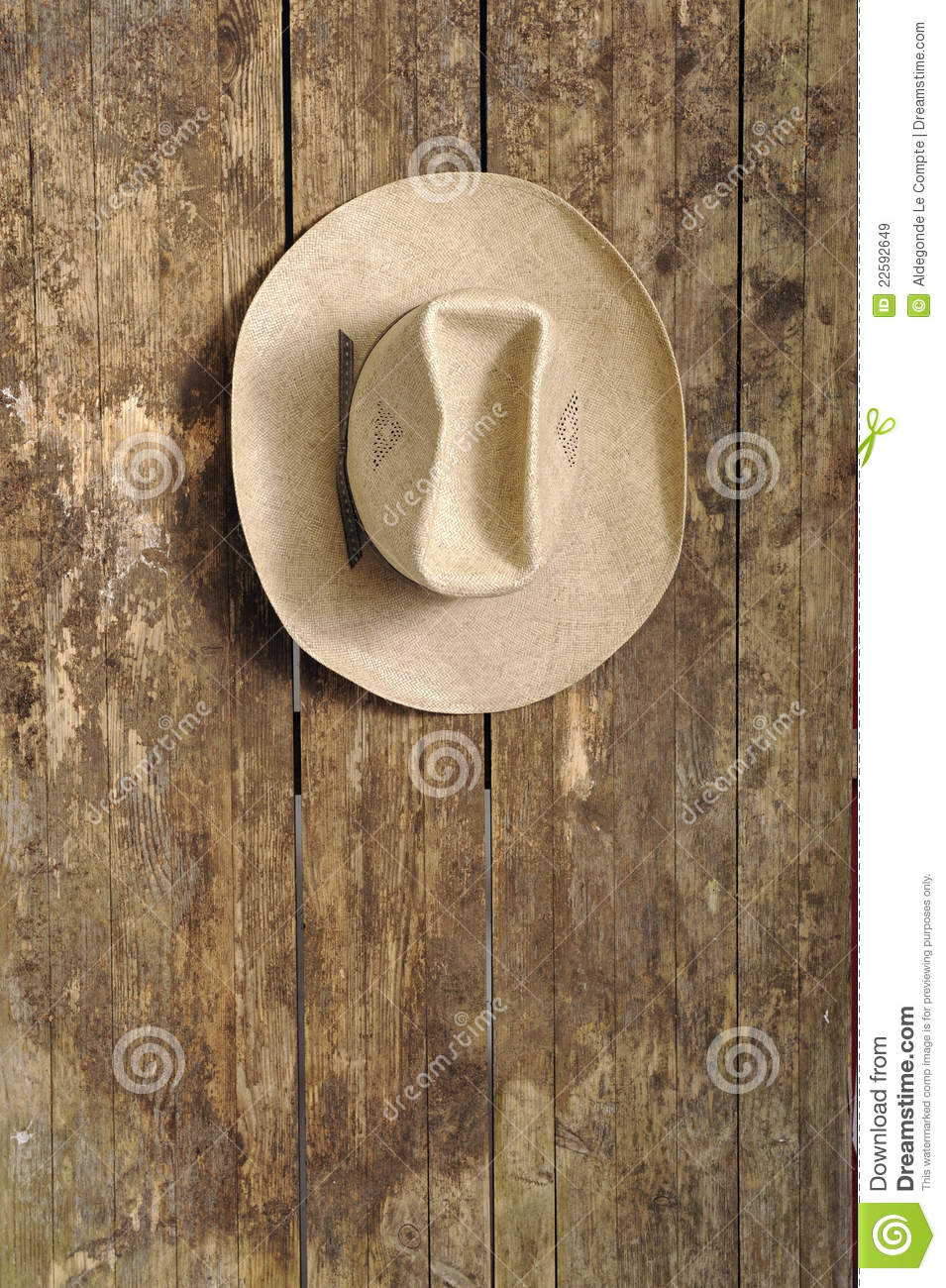 Cowboy Hat Hanging On An Old Wooden Wall Royalty Free