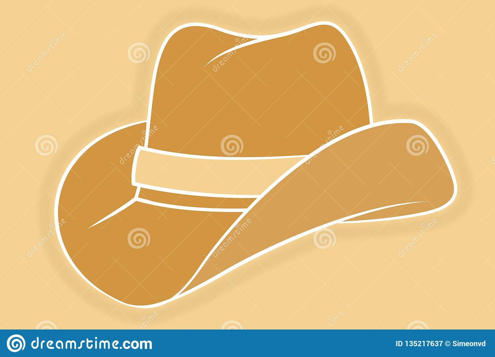 a8dab39ca Cowboy Hat Icon. Vector Isolated Object. Side View Stock Vector ...