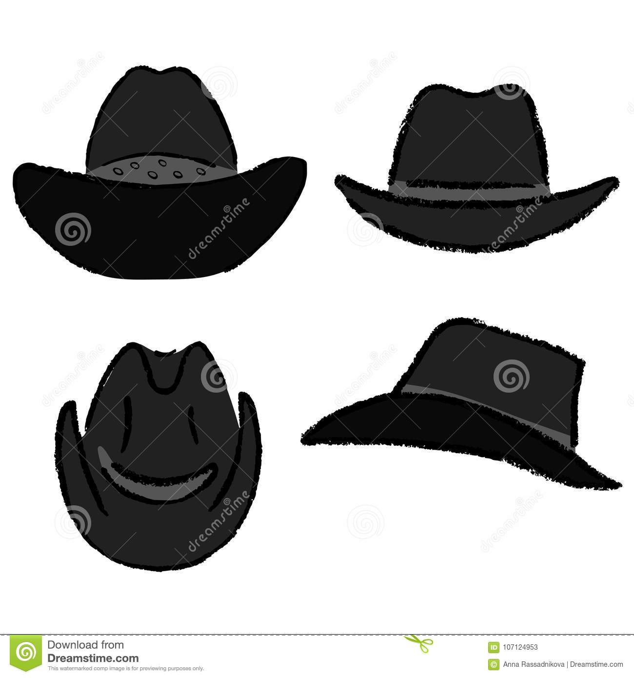 Cowboy hat template stock vector. Illustration of pattern - 107124953