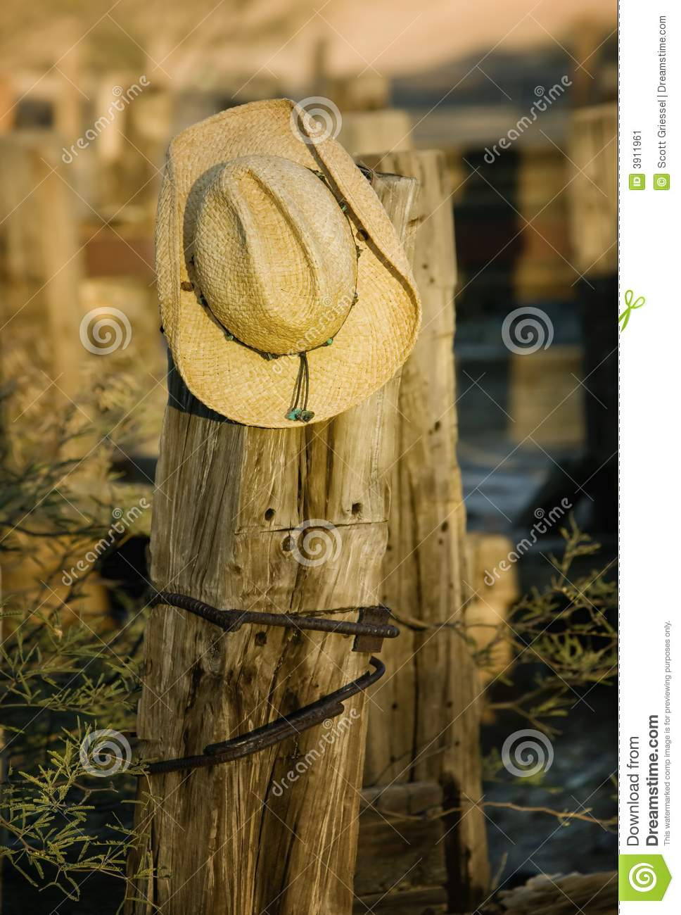 dc9d7892901 Cowboy Hat on a Post stock image. Image of country