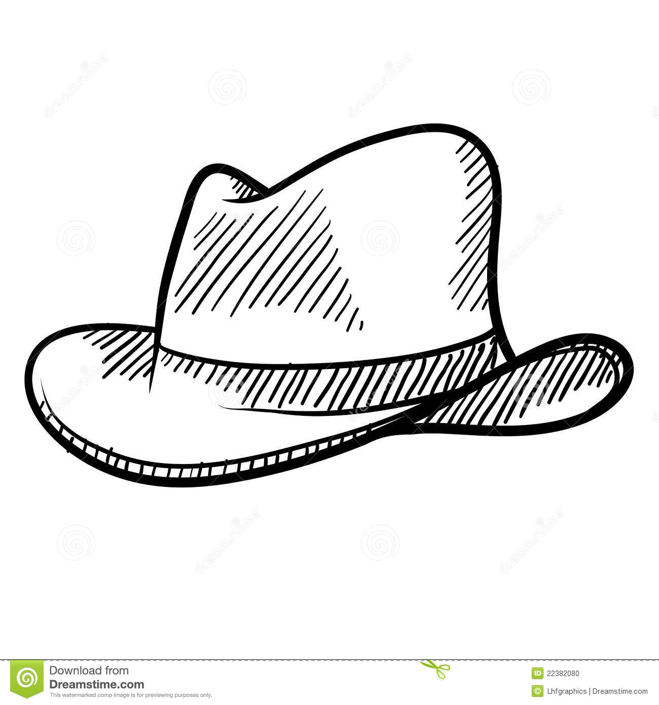 Cowboy Hat Sketch Stock Photo