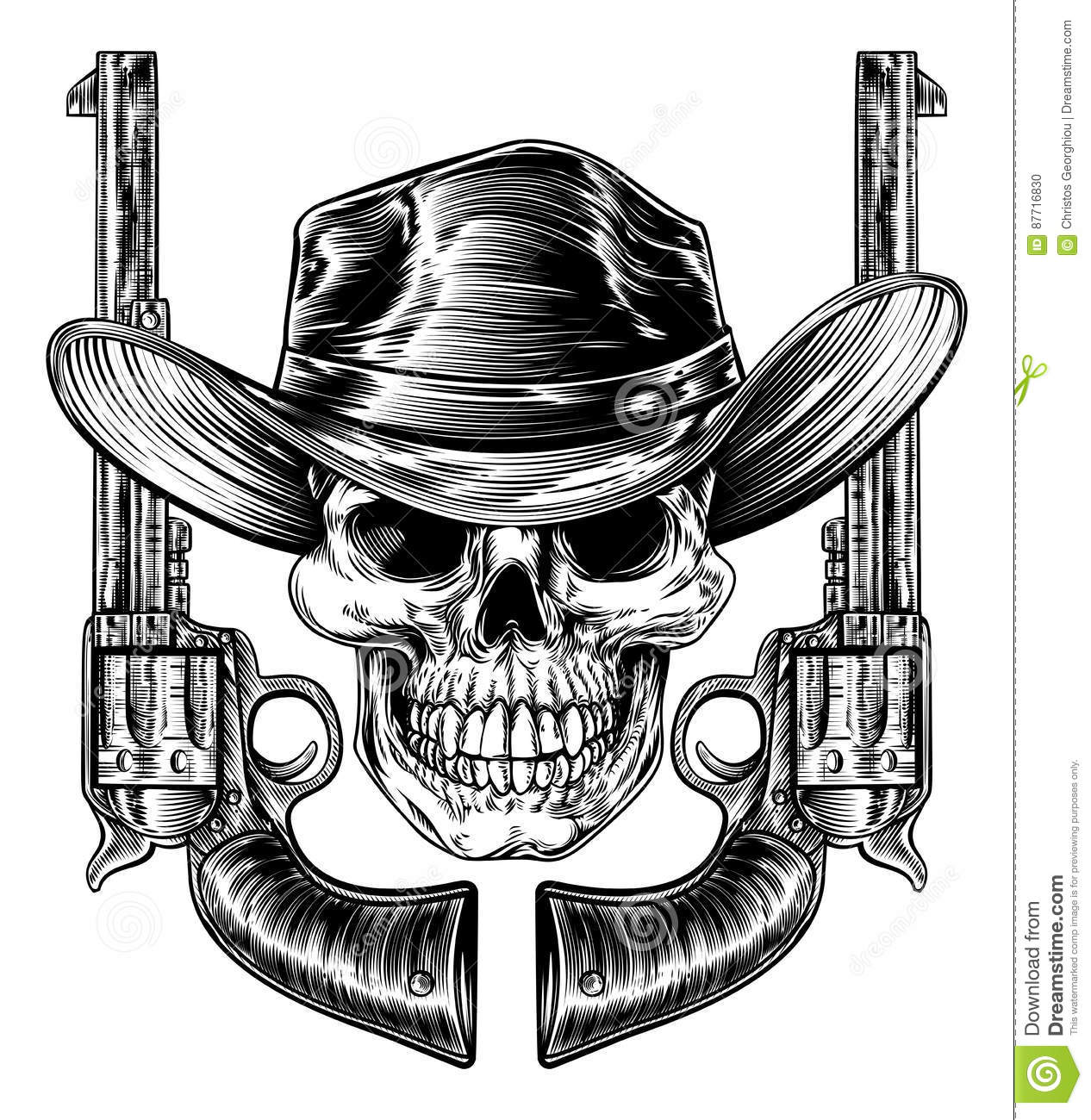 Drawings Easy Skull With Guns: Cowboy Hat Skull And Pistols Stock Vector
