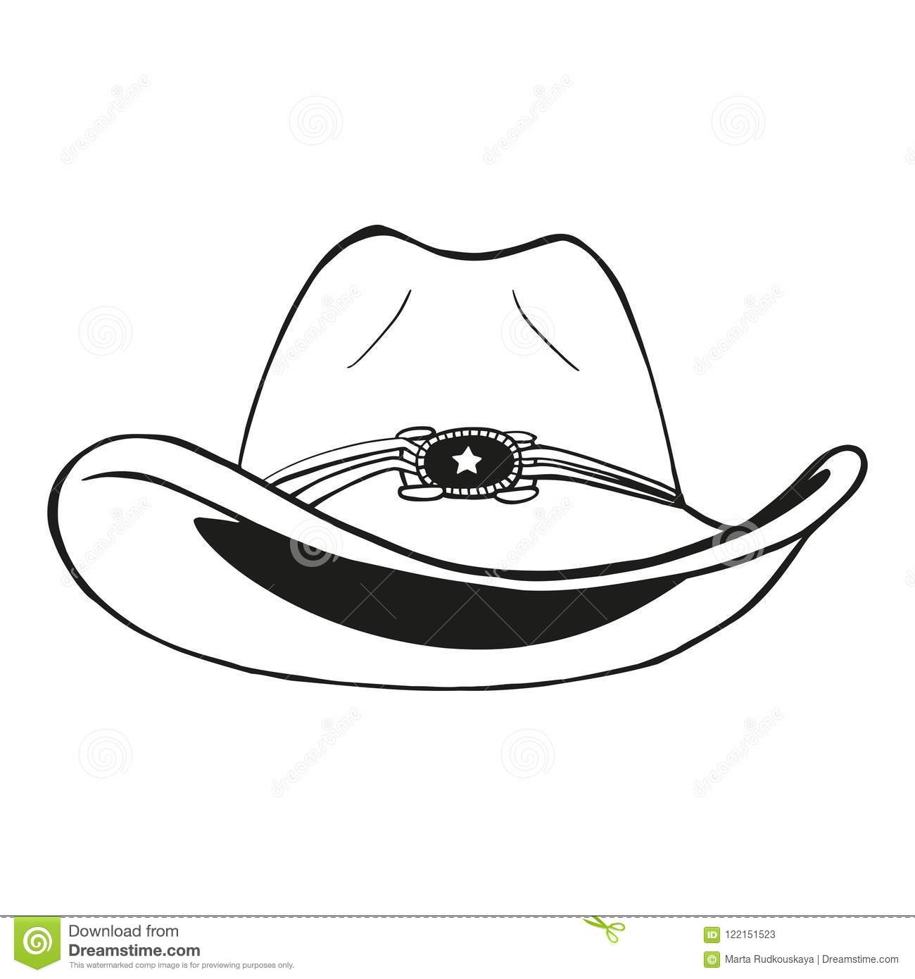 d6369801 Cowboy hat - vintage engraved vector illustration hand drawn style. More  similar stock illustrations
