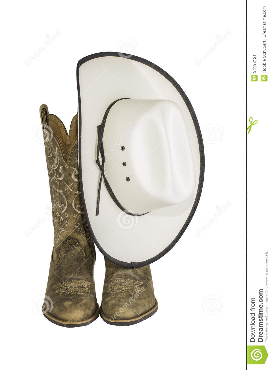 c900281d71c A pair of brown western boots and cowboy hat isolated on a white background