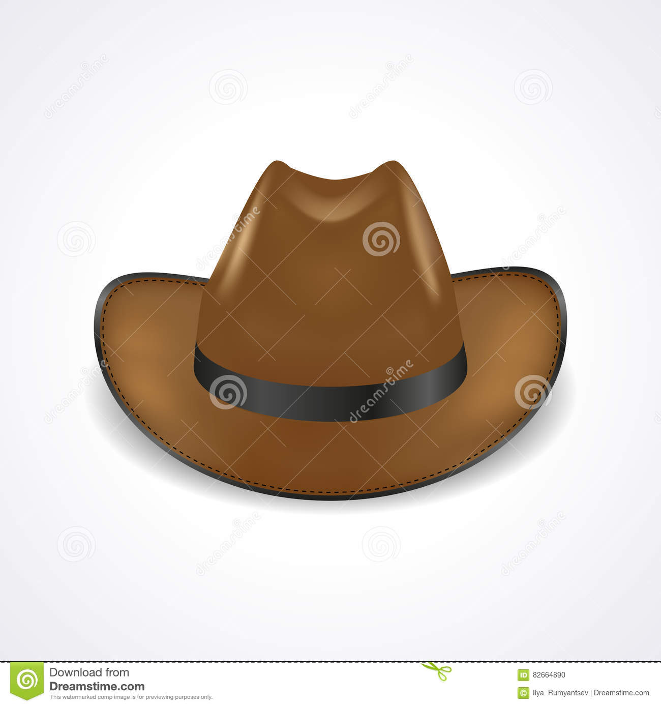 0a02f404 Cowboy hat on white background, front view, sheriff hat, realistic vector.  More similar stock illustrations