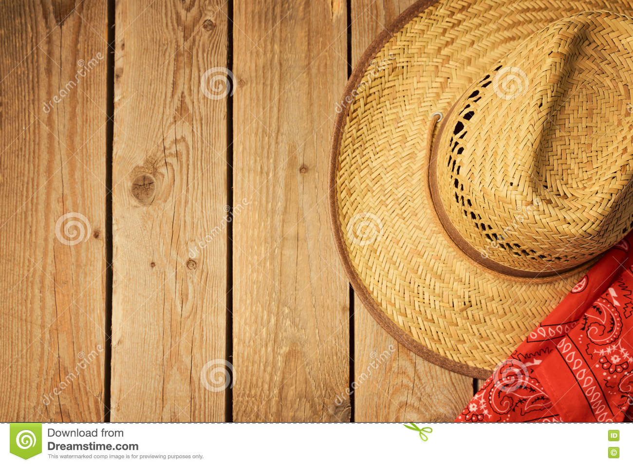 Cowboy Hat On Wooden Vintage Table With Red Bandanna For Party ...
