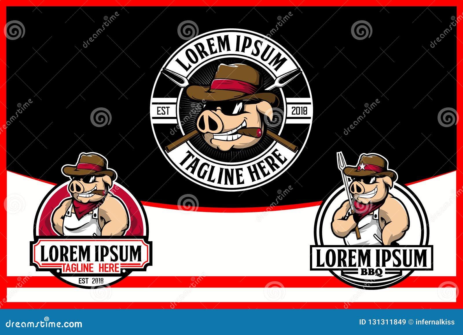 Cowboy Hog o fumetto del maiale per il vettore Logo Template del BBQ