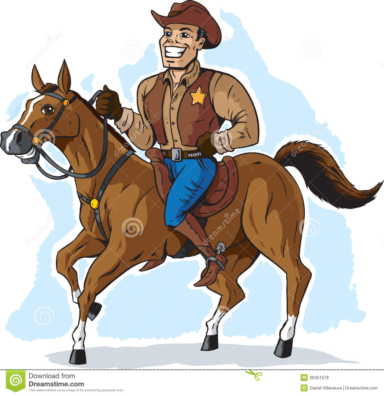 Cowboy On Horse Stock Vector Illustration Of West Western 36451078