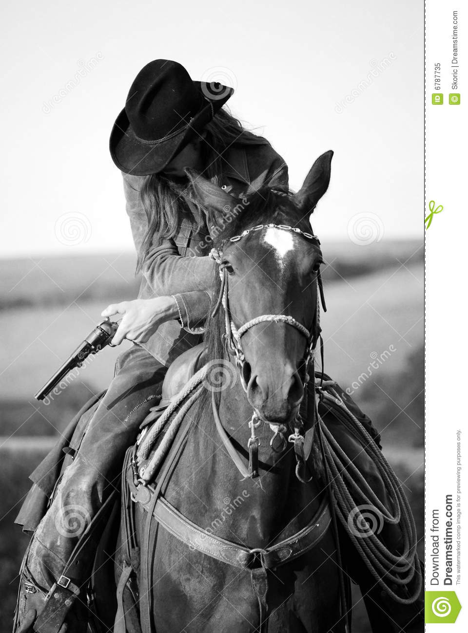 Cowboy On A Horse With A Gun Stock Image Image Of Land Farm 6787735