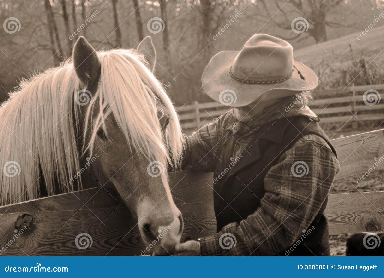 Cowboy and horse/sepia