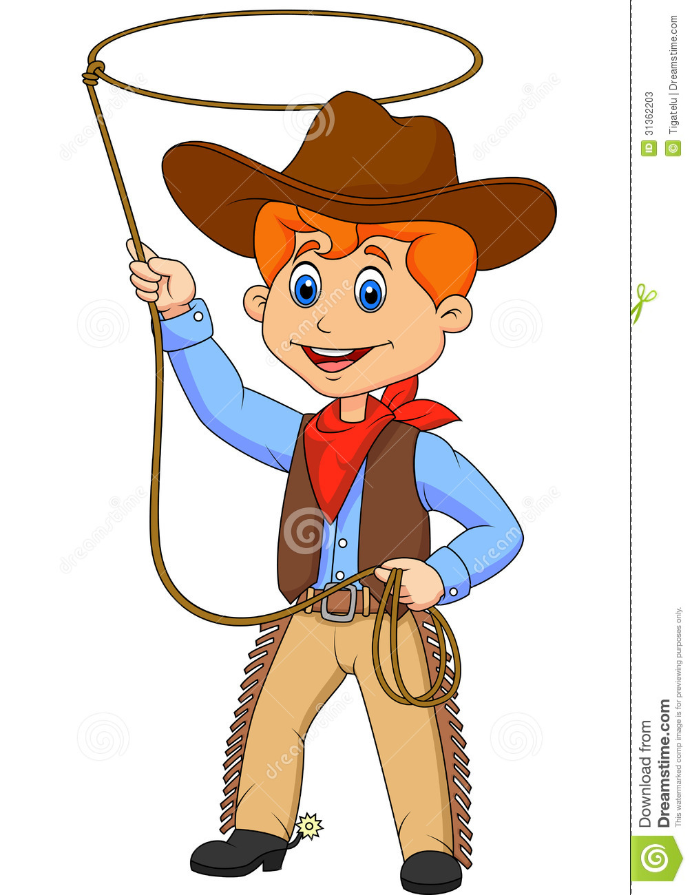 Cowboy Kid Cartoon Twirling A Lasso Stock Photos - Image: 31362203