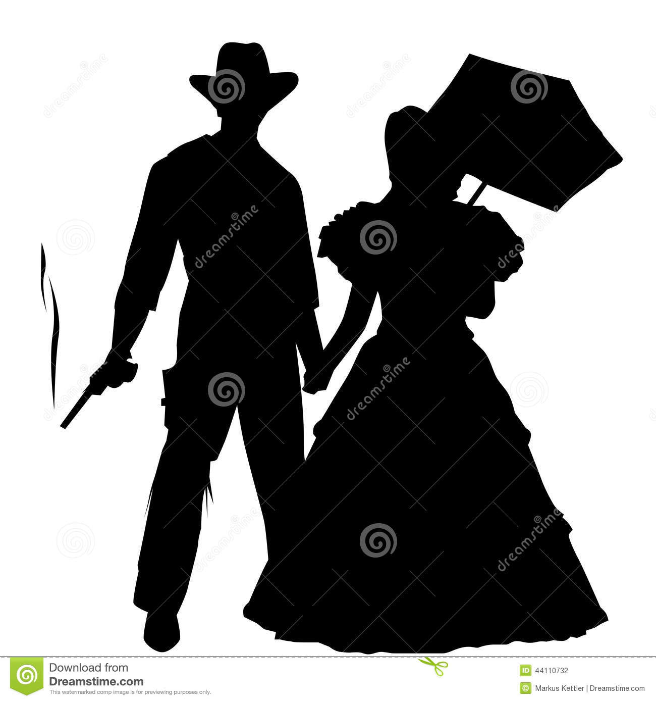 wild west cowboy and lady silhouette stock illustration