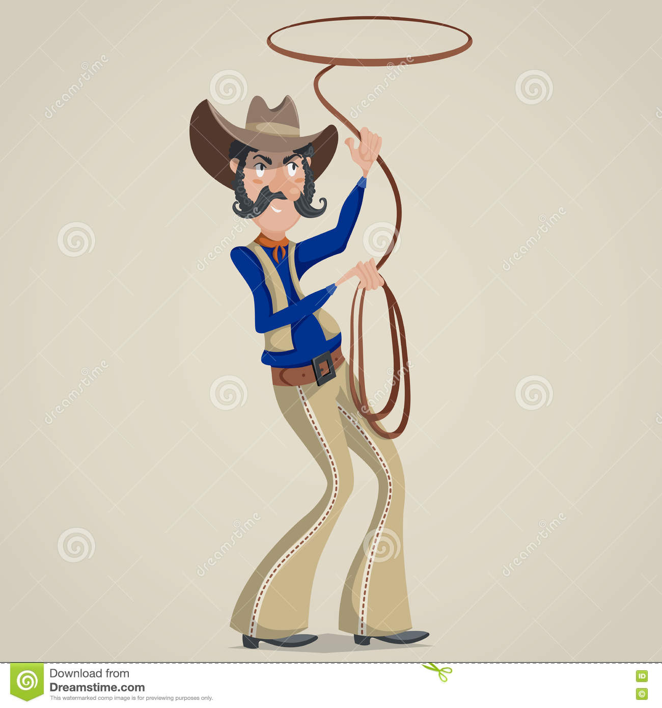 Cowboy with lasso. Funny cartoon character.