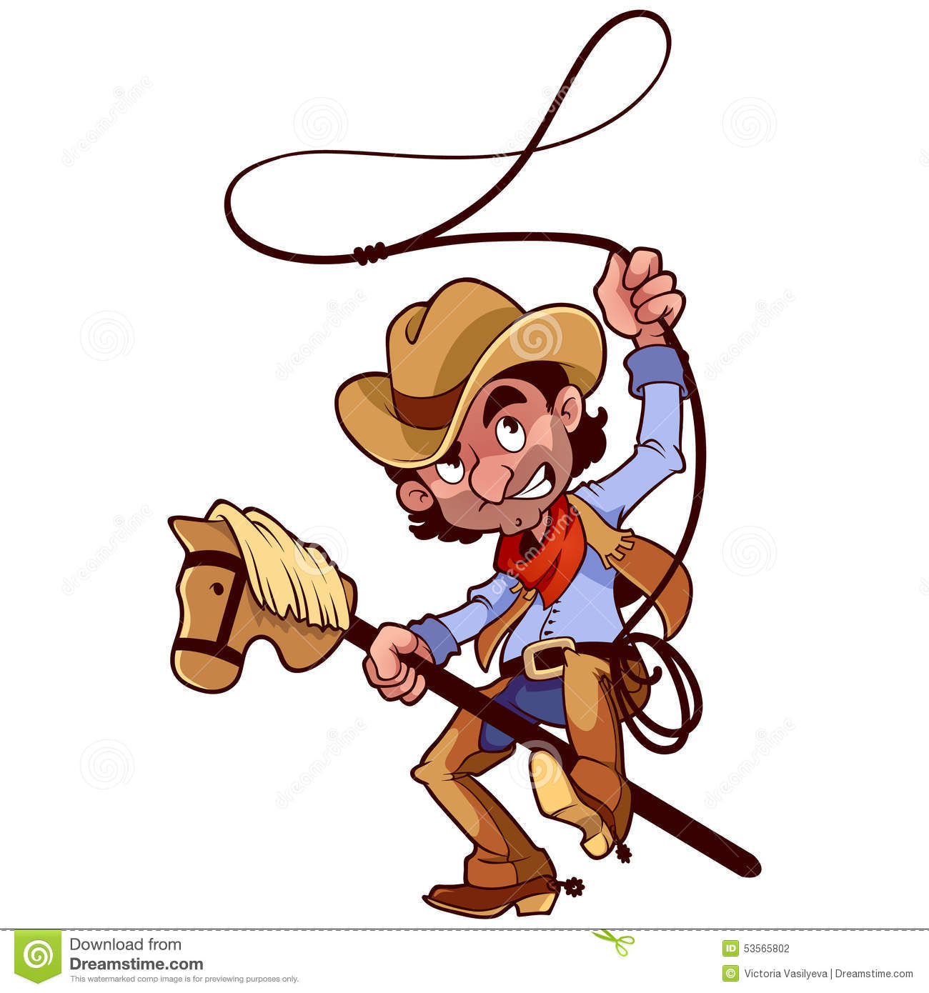 Cowboy With Lasso On A Stick horse Stock Vector Image 53565802