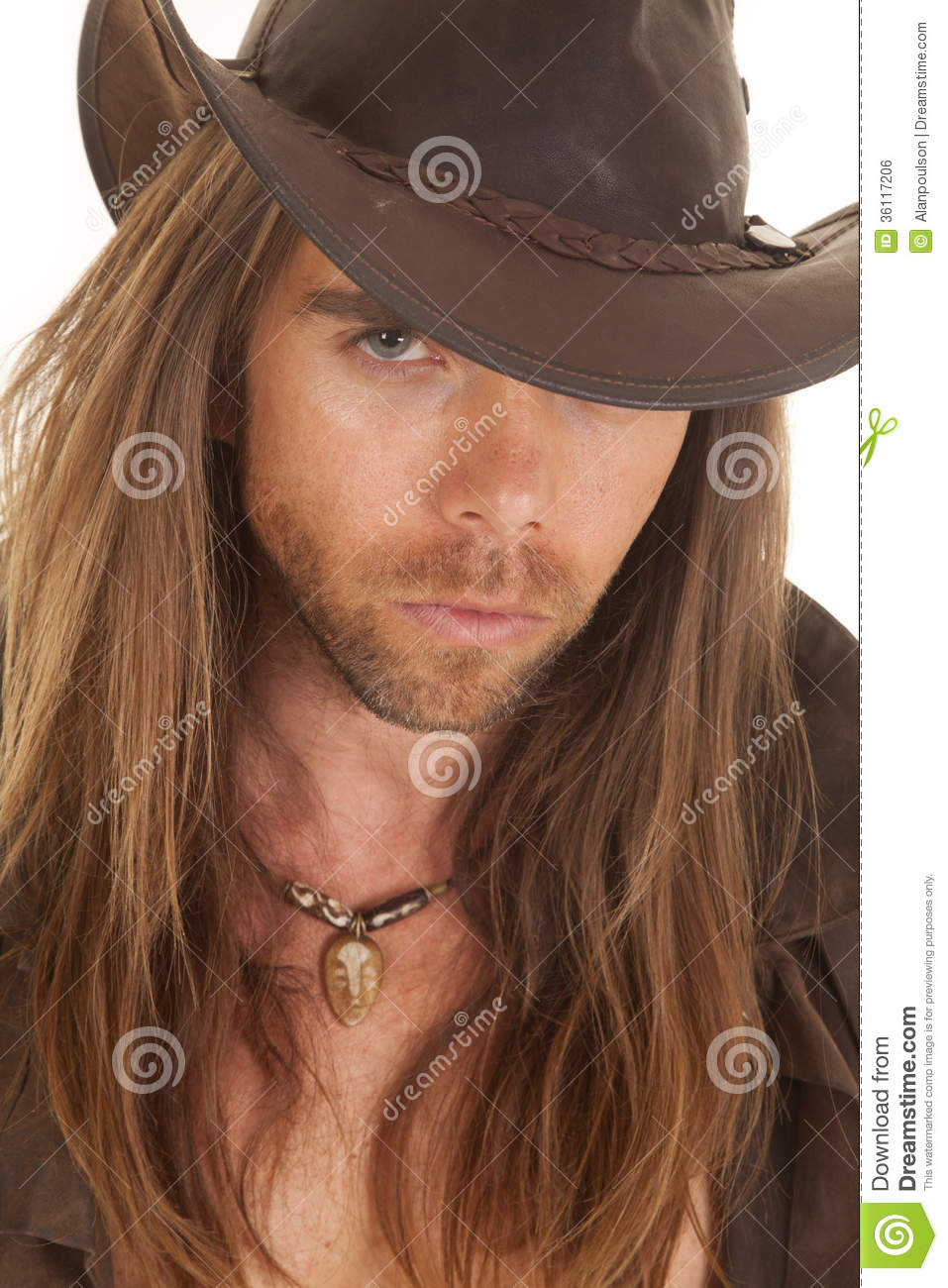 b41cc6b3a4c02 Cowboy Long Hair Close Serious Stock Photo - Image of handsome ...