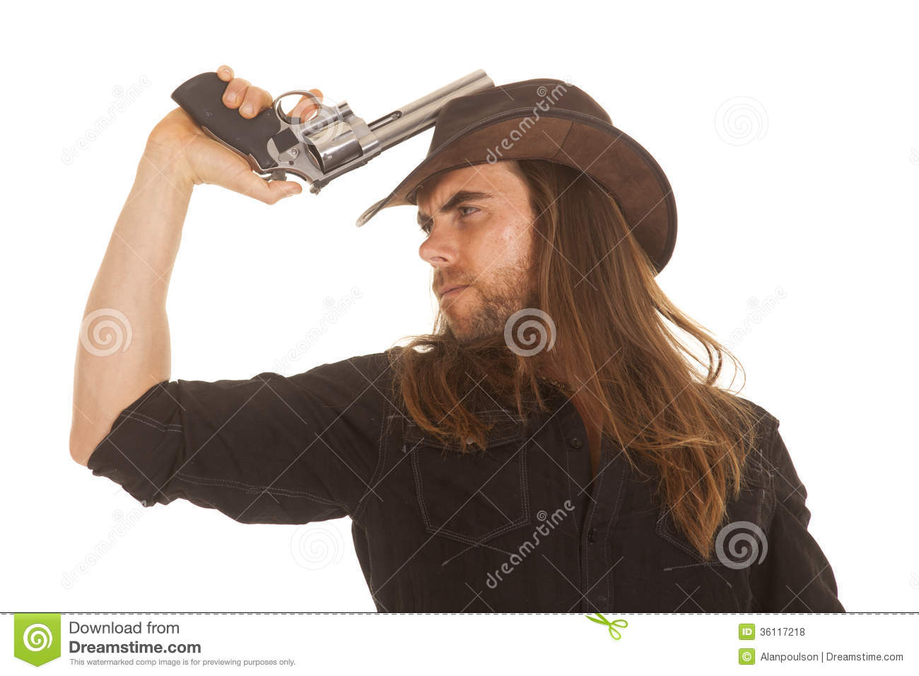 5b87604bee601 Cowboy Long Hair Hold Pistol By Hat Stock Photo - Image of middle ...