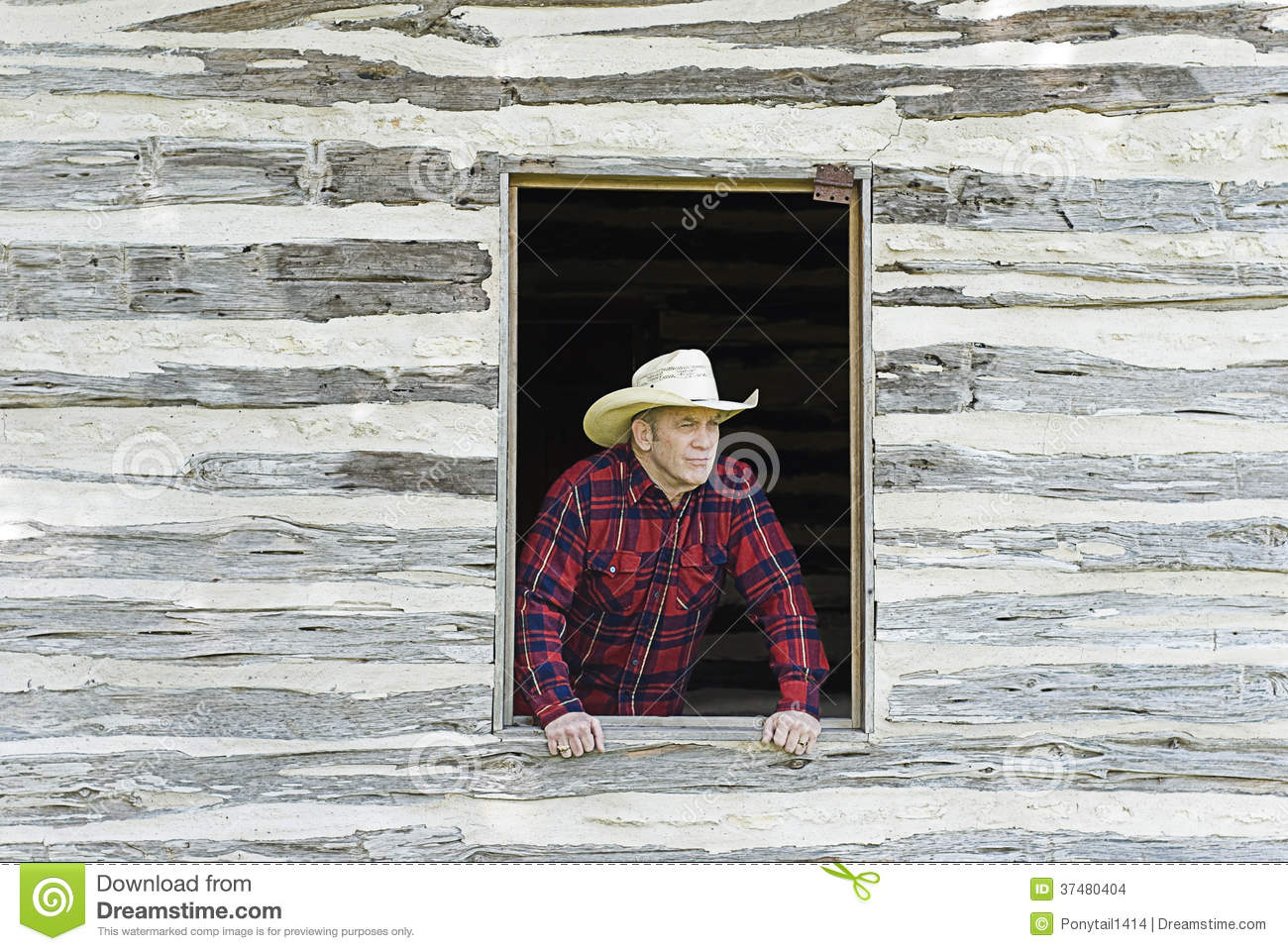 Cowboy Looking Out a Window