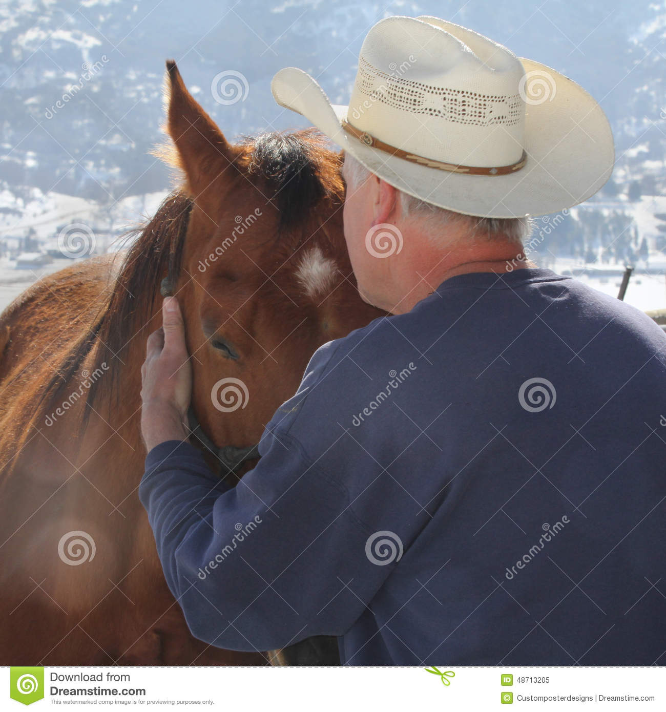 Download A cowboy needs a horse. stock image. Image of love, older - 48713205