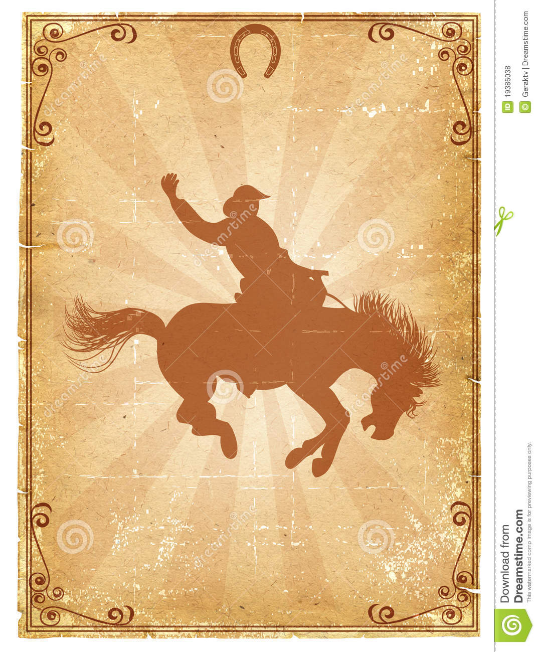 Cowboy old paper background for text with decor frame .Retro rodeo ...