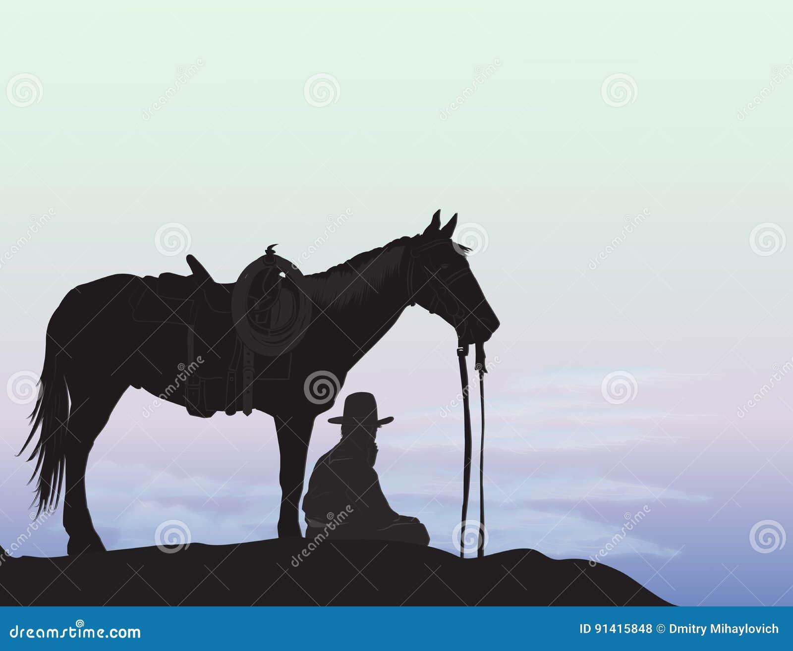 Cowboy op berg