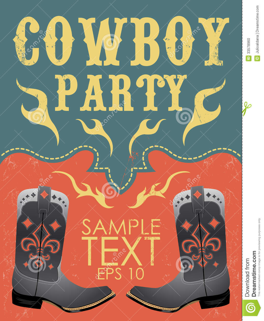 Cowboy Party Poster Vector Invitation Eps 10 Stock