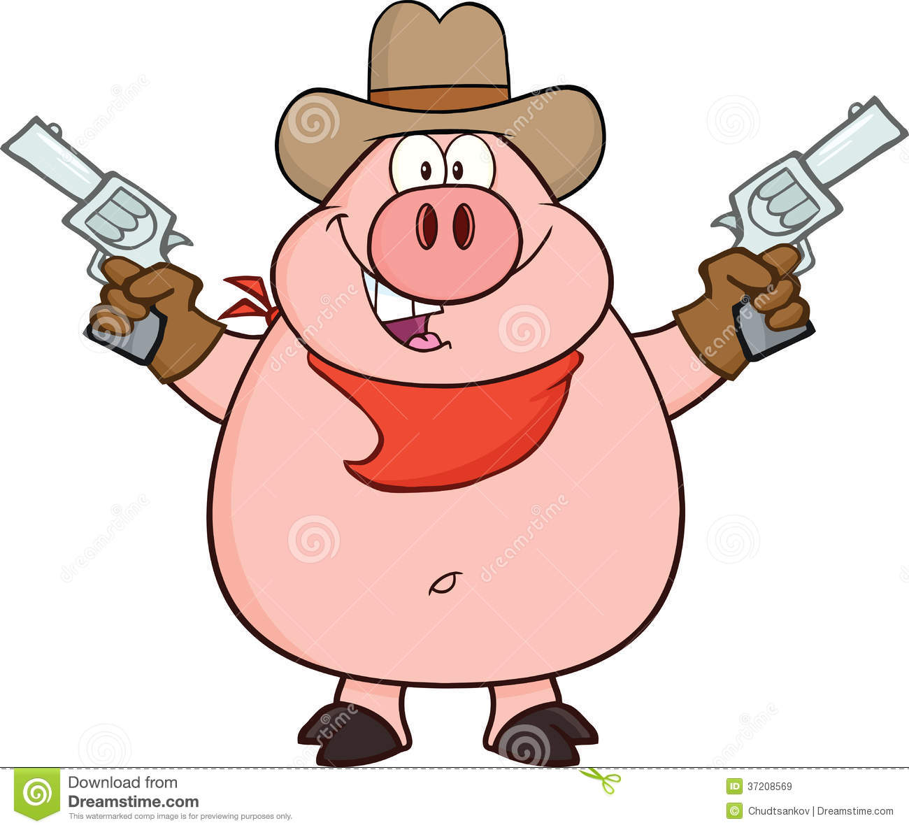 Royalty Free Stock Images: Cowboy Pig Cartoon Character Holding Up Two ...
